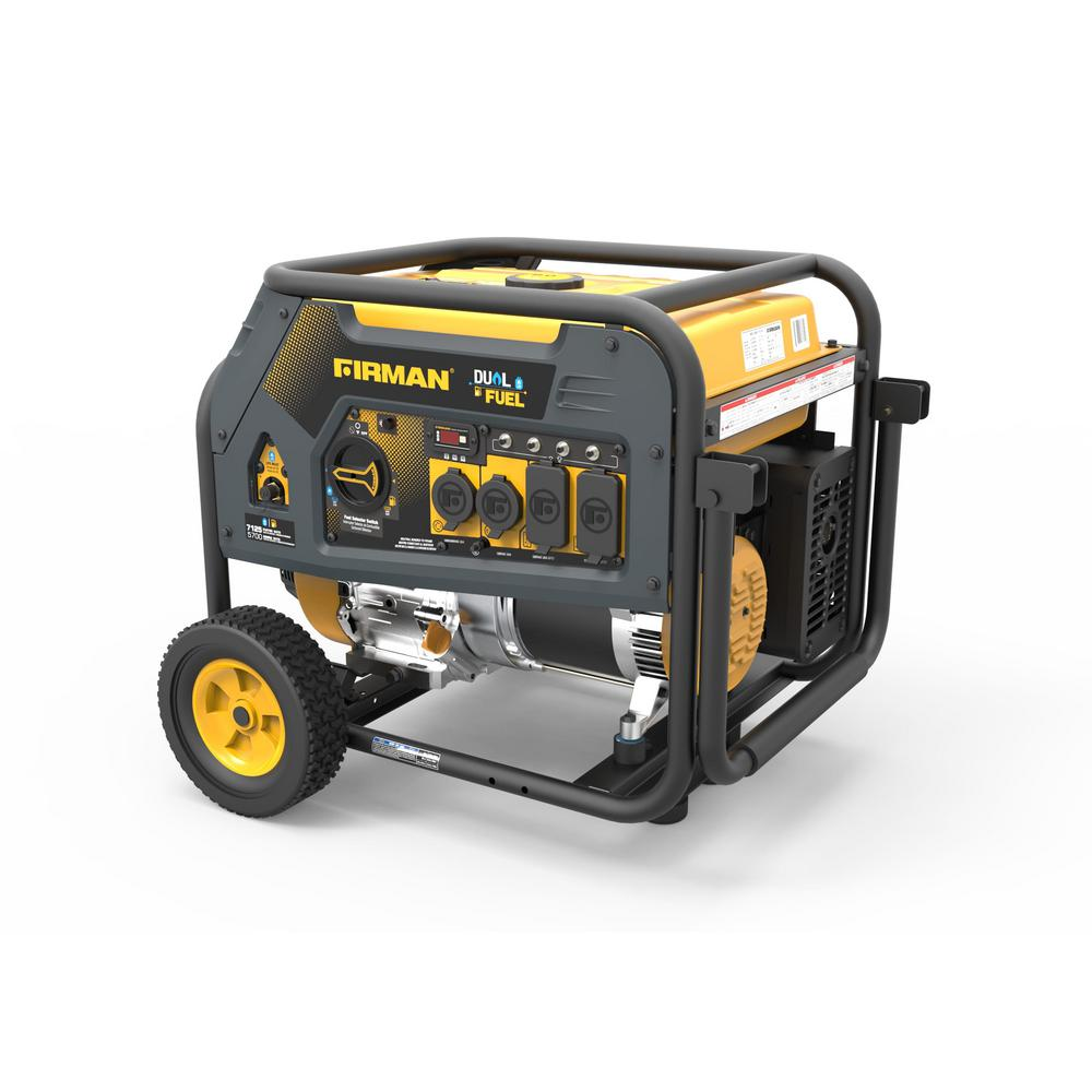 7125 5700 Watt 120 240v Recoil Start Gas Or Propane Dual Fuel Portable Generator Carb Certified With Wheel Kit