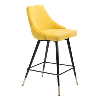 Piccolo 36.4 in. Yellow Velvet Counter Chair