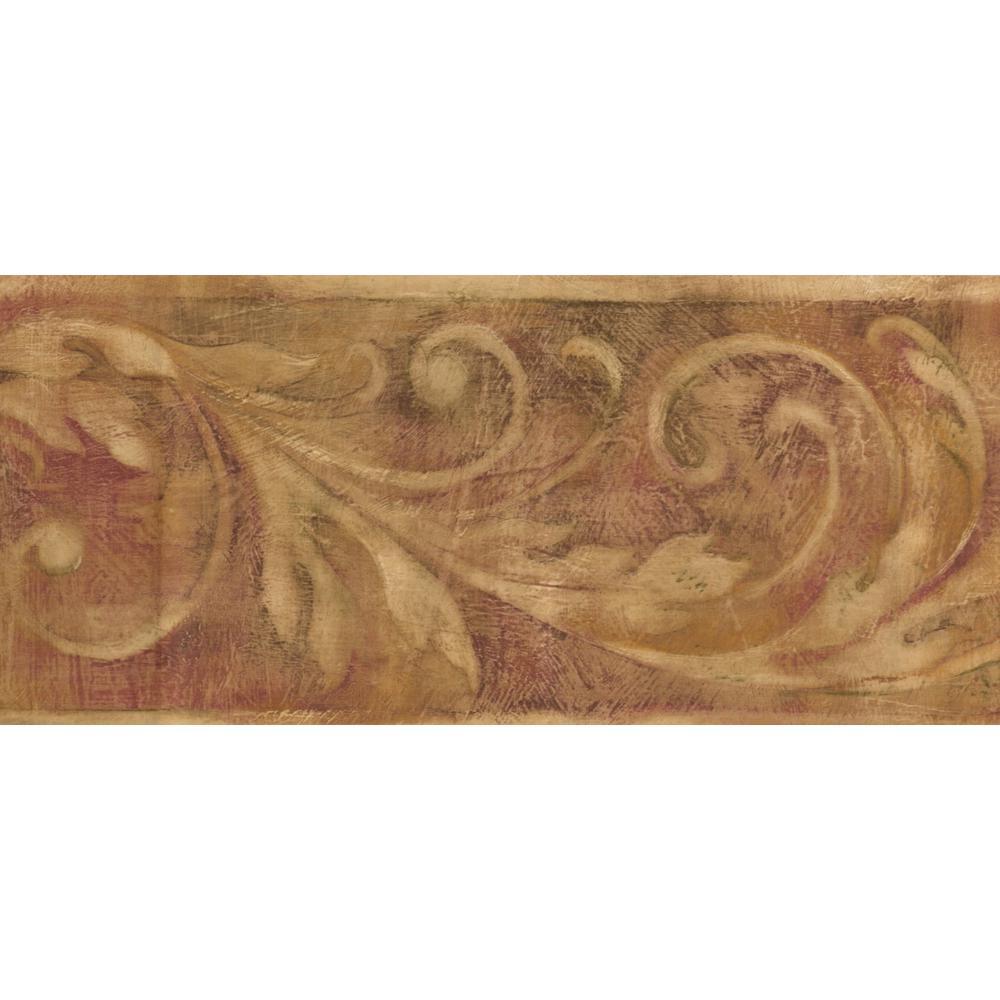 """York Wallcoverings """"Vintage Beige Damask Vines On Reddish"""
