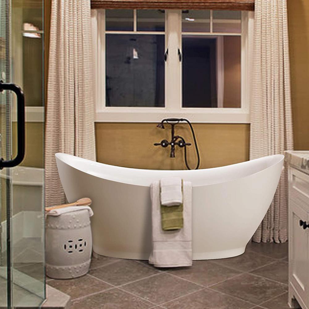 Blois 67 in. Acrylic Flatbottom Freestanding Bathtub in White