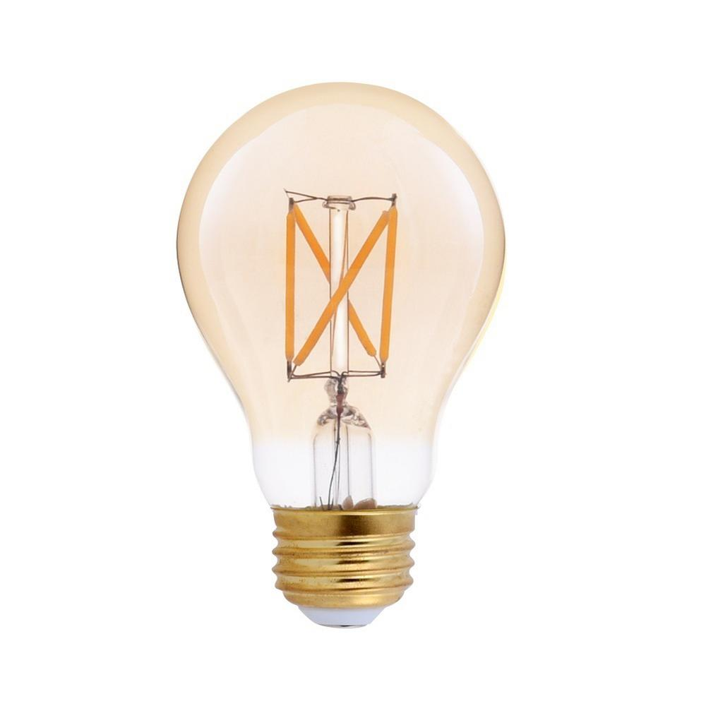 25-Watt Equivalent A19 Dimmable Amber Glass Filament LED Light Bulb Amber