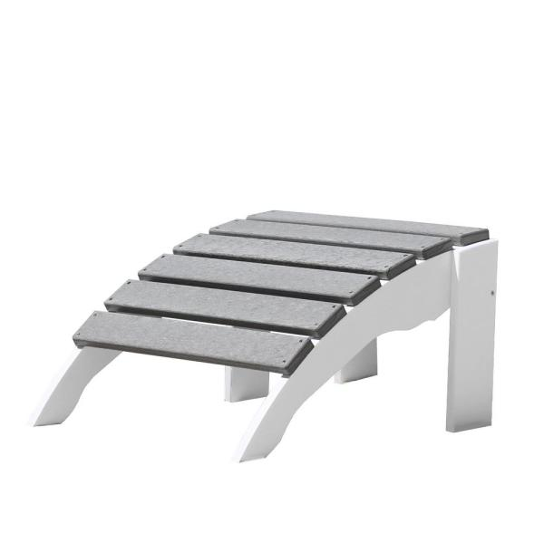 Icon White and Driftwood Gray Plastic Outdoor Ottoman