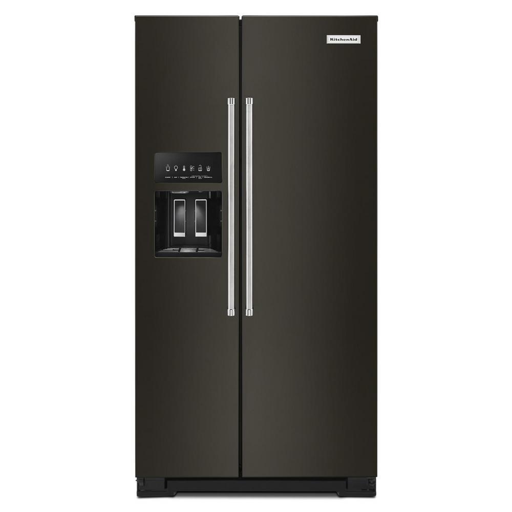 KitchenAid 36 in. W 22.6 cu. ft. Side by Side Refrigerator in PrintShield Black Stainless Steel, Counter Depth