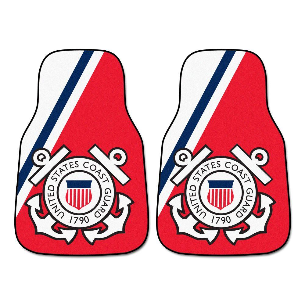 FANMATS U.S. Coast Guard 18 in. x 27 in. 2-Piece Carpeted Car Mat Set