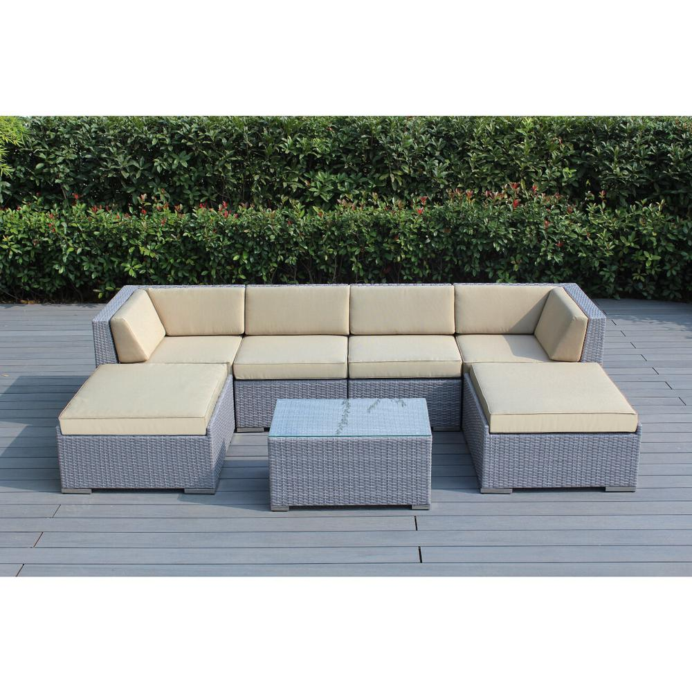 Ohana Depot Ohana Gray 7-Piece Wicker Patio Seating Set with Sunbrella Antique Beige Cushions