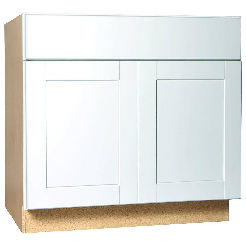 Hampton bay madison assembled 9x34 5x24 in base cabinet in medium oak - Hampton Bay Shaker Assembled 36x345x24 In Accessible Sink Base Kitchen Cabinet In Satin The Home Depot