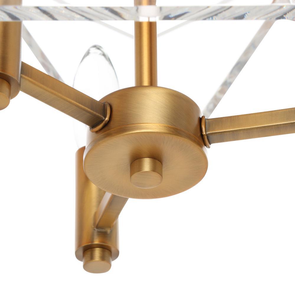 Pentos 3-Light Aged Brass Acrylic Pendant
