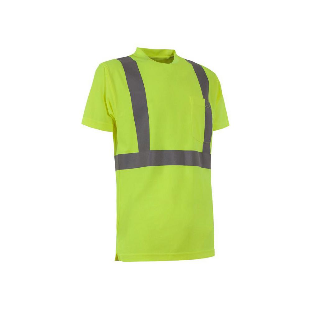 a8c4cc0a77ec Men's 6 XL Tall Yellow 100% Polyester Hi-Vis Type R Class 2 Performance  Short Sleeve T-Shirt