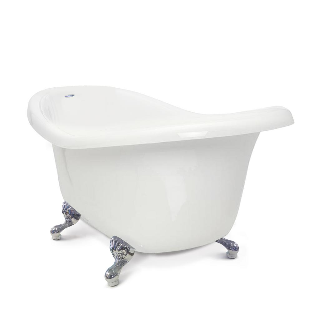 Chelsea 60 in. Acrylic Slipper Clawfoot Bathtub in White with Chrome