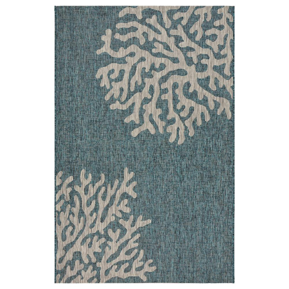 Captiva Blue / Gray 5 ft. x 7 ft. Rectangle Indoor/Outdoor