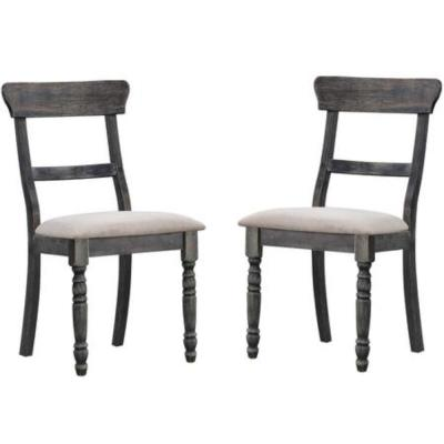 Wooden Gray Side Chair with Fabric Upholstered Seat ( Set of 2 )
