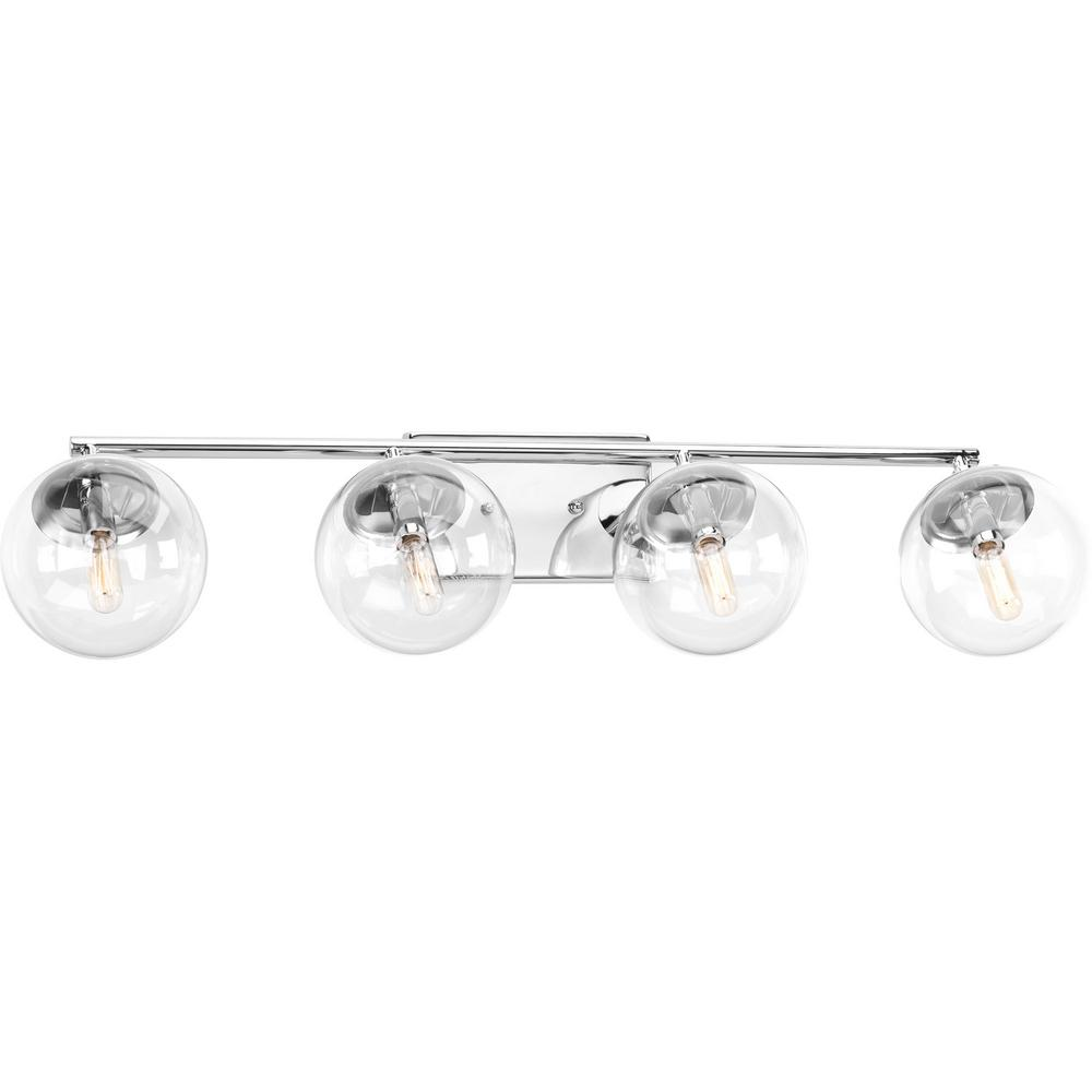 Progress Lighting Mod Collection 4 Light Polished Chrome Bathroom Vanity With Gl Shades