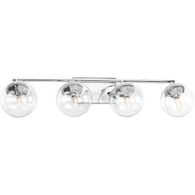 Mod Collection 4-Light Polished Chrome Bathroom Vanity Light with Glass Shades