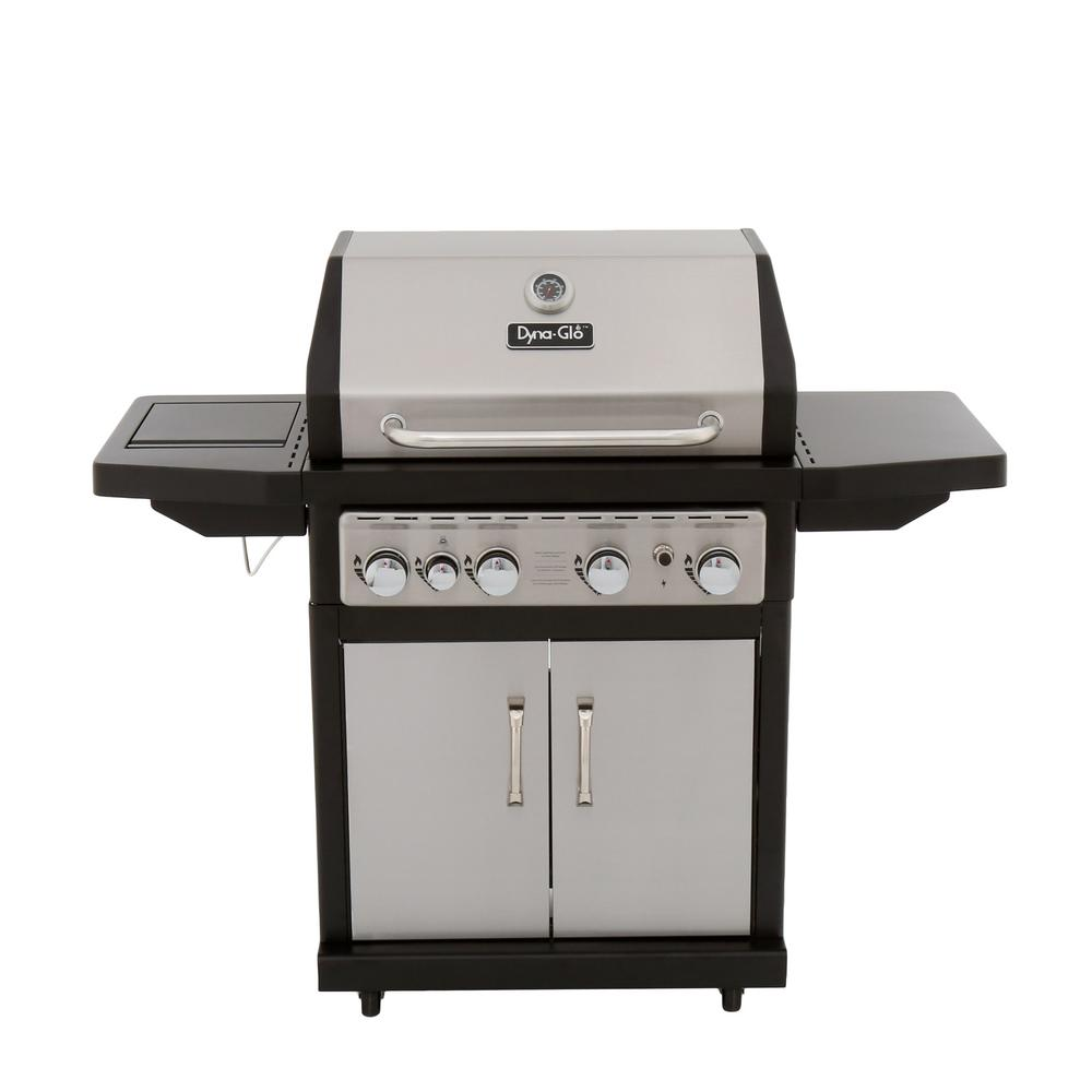 dyna glo 4 burner propane gas grill in stainless steel. Black Bedroom Furniture Sets. Home Design Ideas