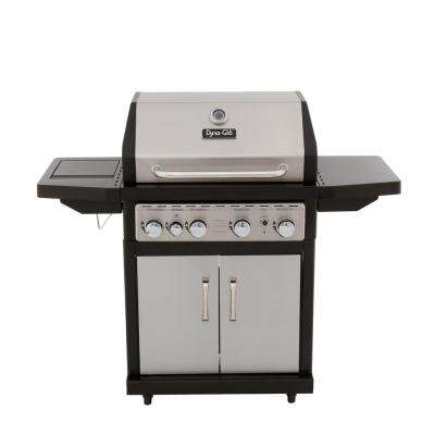 4-Burner Propane Gas Grill in Stainless Steel with Side Burner