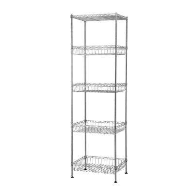 14 in. x 18 in. x 60 in. Silver Wire 5 tier Garage Shelving Unit