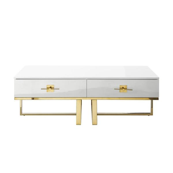 Maui White/Gold Coffee Table 2-Drawers