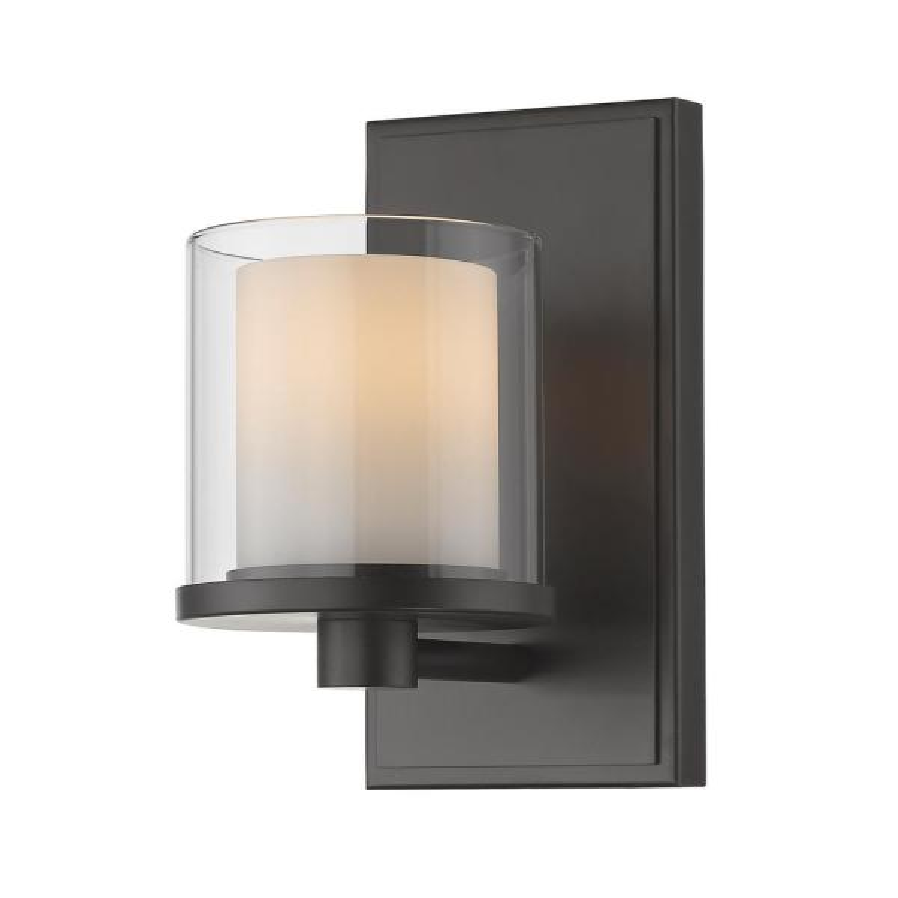 Mira 1-Light Bronze Bath Light with Clear and Matte Opal Glass Shade
