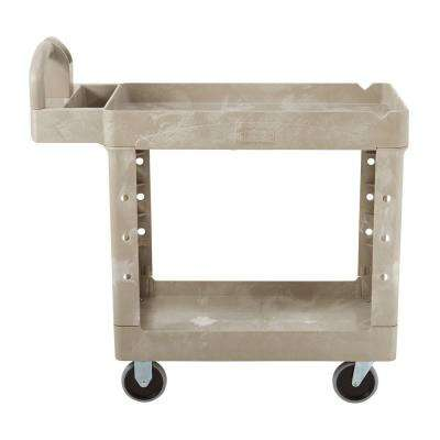 Heavy Duty Beige 2-Shelf Utility Cart with Lipped Shelf in Small