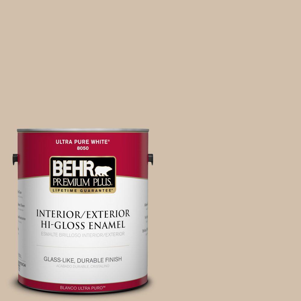 BEHR Premium Plus 1-gal. #PPF-32 Light Rattan Hi-Gloss Enamel Interior/Exterior Paint
