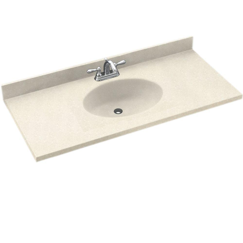 Swanstone Chesapeake 61 in. W Solid Surface Vanity Top in Pebble with Pebble Basin