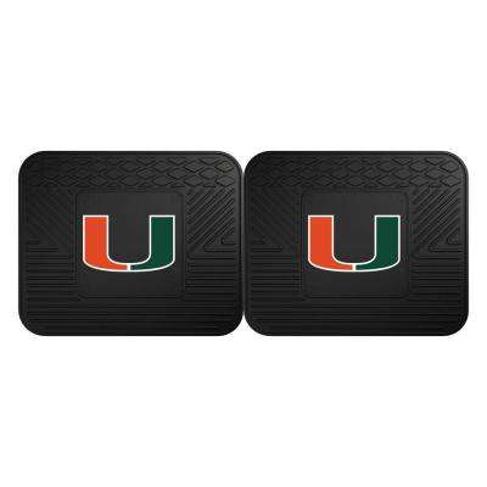 NCAA University of Miami Black Heavy Duty 2-Piece 14 in. x 17 in. Vinyl Utility Mat