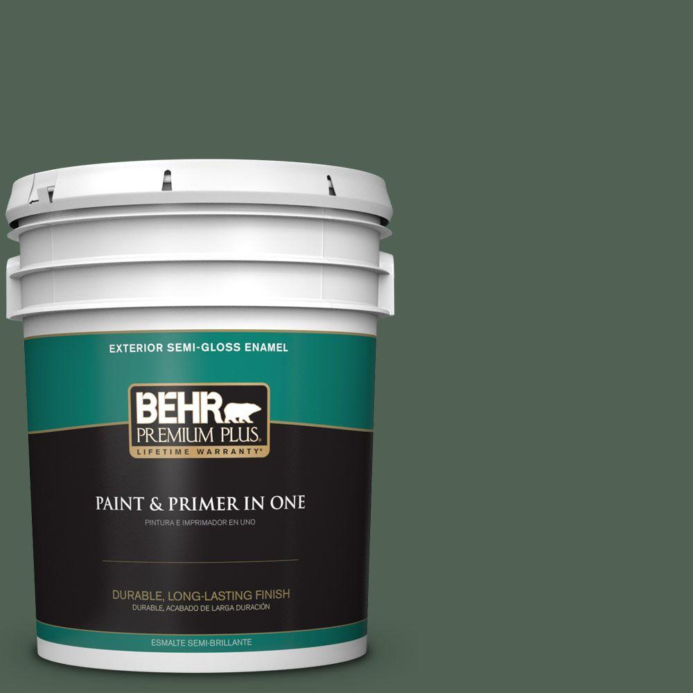 5-gal. #BXC-60 Pasture Green Semi-Gloss Enamel Exterior Paint