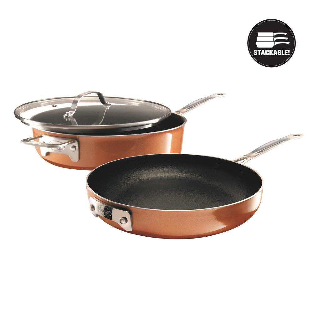 StackMaster 3-Piece Aluminum Ultra-Nonstick Cast Textured Ceramic Coating Cookware Set