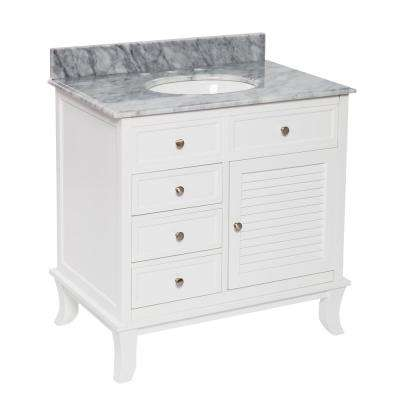 Pennyman 33.5 in. W x 22 in. D Vanity in White with Marble Vanity Top in Gray with White Basin