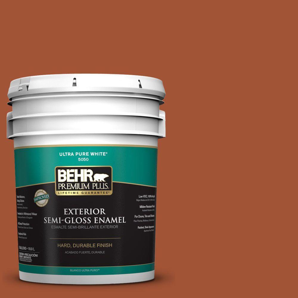 BEHR Premium Plus 5-gal. #S-H-230 Ground Nutmeg Semi-Gloss Enamel Exterior Paint