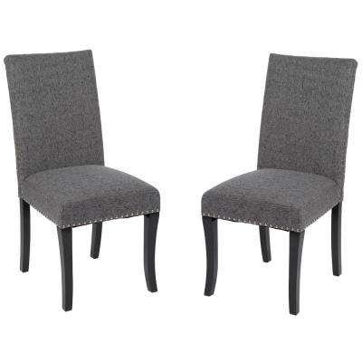 Deborah 40 in. Charcoal Fabric and Black Wood Finish Dining Chair (Set of 2)