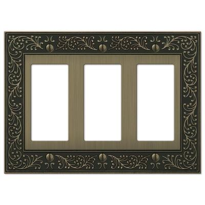 English Garden 3 Gang Rocker Metal Wall Plate - Brushed Brass