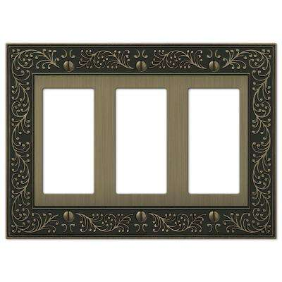 English Garden 3-Gang Decora Wall Plate - Brushed Brass