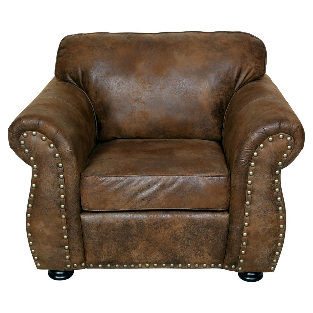Elk river brown transitional faux leather look with nailhead chair 01 41c 03 975 the home depot