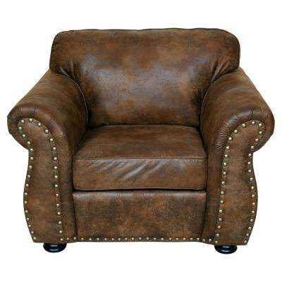 Elk River Brown Transitional Faux Leather Look with Nailhead Chair