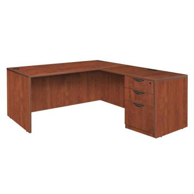 Magons 71 in. Cherry Single Full Pedestal L-Desk with 47 in. Return