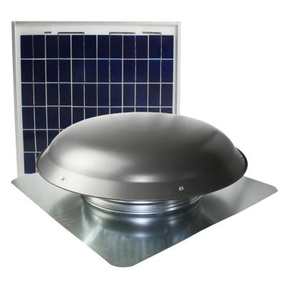 433 CFM Weathered Gray Galvanized Steel Solar Powered Attic Fan with Wildlife Guard