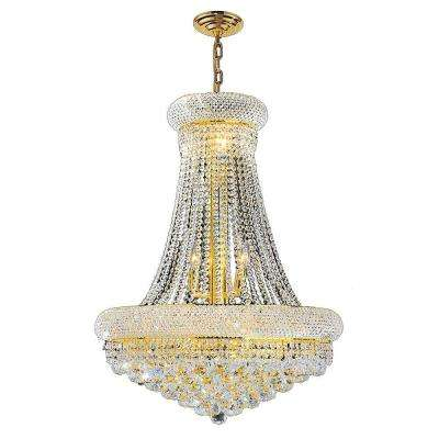 Empire 14-Light Polished Gold and Clear Crystal Chandelier
