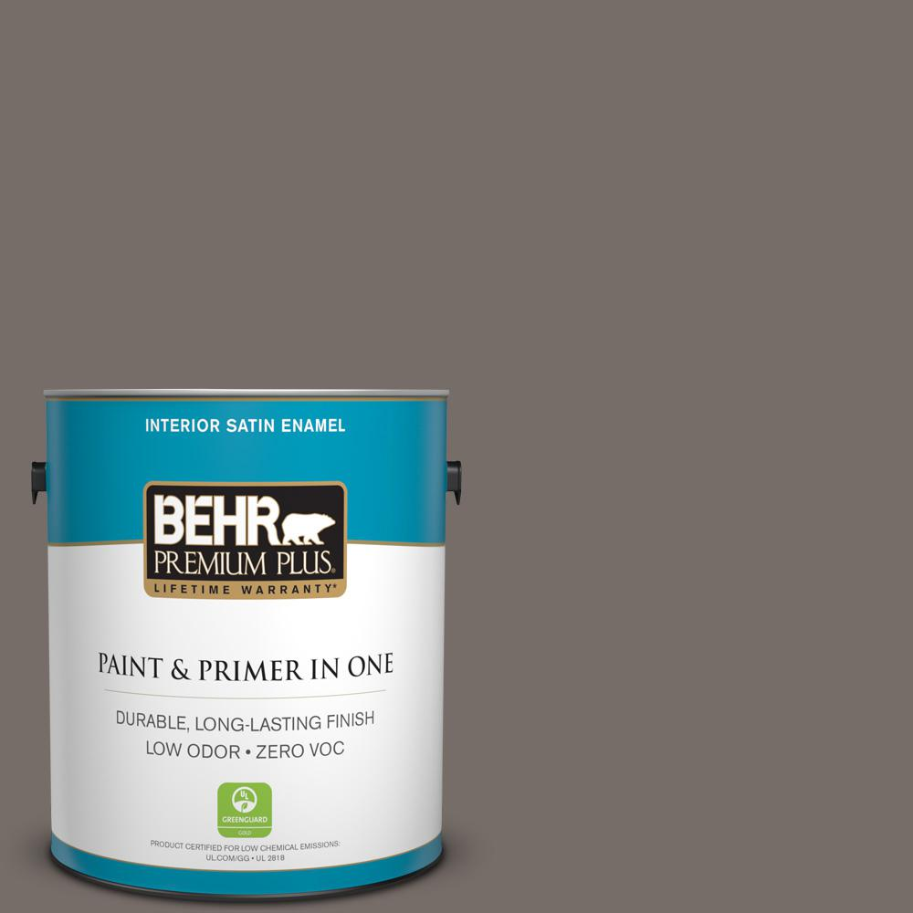 BEHR Premium Plus 1 gal. #bnc-37 Gray Owl Satin Enamel Zero VOC Interior Paint and Primer in One, Grays