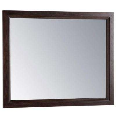 Teasian 26 in. x 31 in. Framed Single Wall Mirror in Chocolate