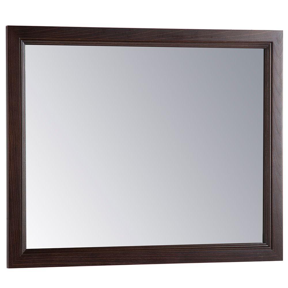Teasian 26 in. x 31 in. Framed Single Wall Mirror in Chocolate