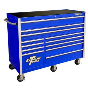 Click here to buy Extreme Tools THD Series 55 inch 12-Drawer Roller Cabinet Tool Chest in Blue by Extreme Tools.