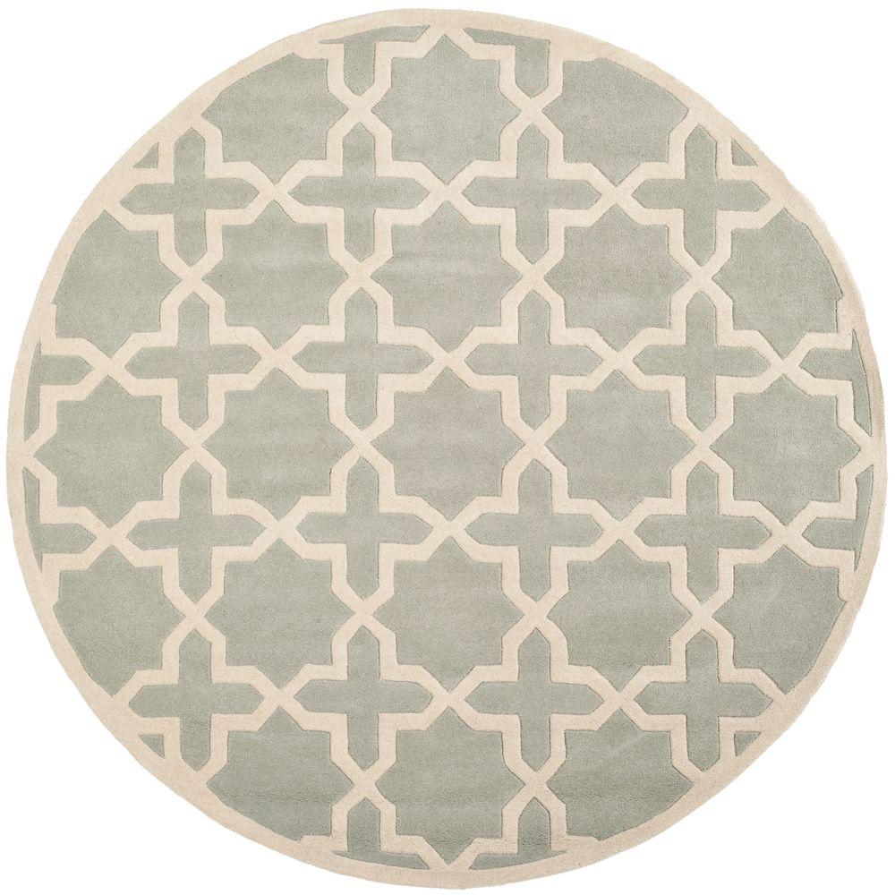 safavieh chatham grey ivory 4 ft x 4 ft round area rug cht732e 4r the home depot. Black Bedroom Furniture Sets. Home Design Ideas