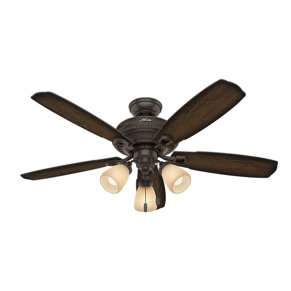 hunter ambrose 52 in led indoor onyx bengal bronze three light ceiling fan 53354 the home depot. Black Bedroom Furniture Sets. Home Design Ideas