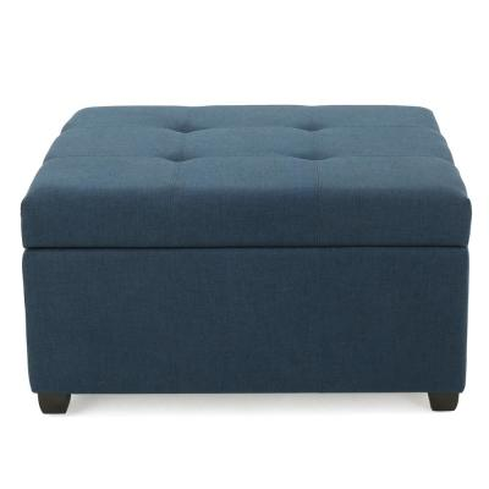 Carlsbad Dark Blue Fabric Storage Ottoman