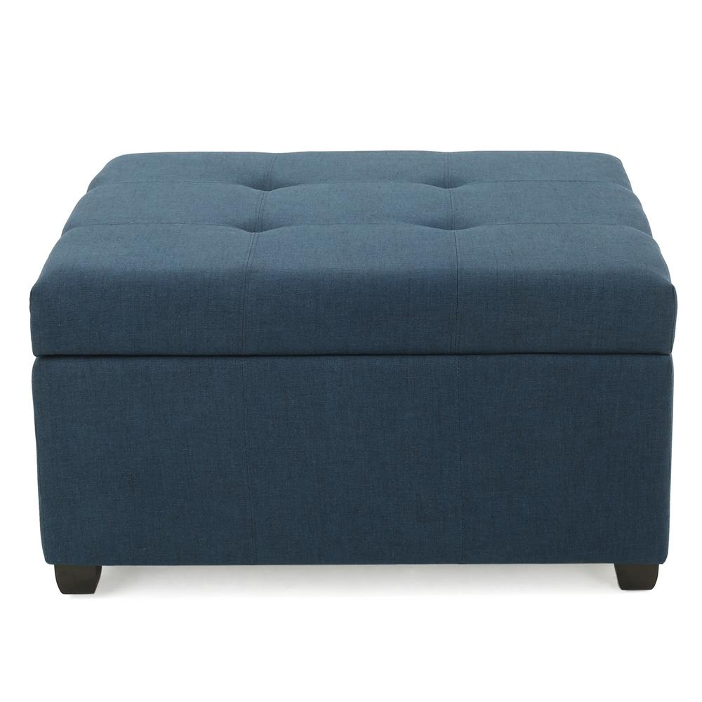Noble House Carlsbad Dark Blue Fabric Storage Ottoman
