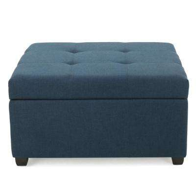 Carlsbad Dark Blue Fabric Storage Ottoman