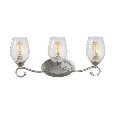 3-Light Silver Vanity Light with Seeded Glass Shade