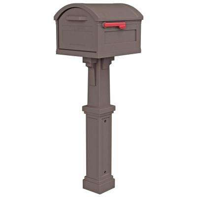 Grand Haven Extra Large, Plastic, Mailbox and Post Combo, Mocha