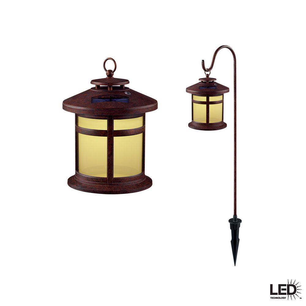 Hampton Bay Reviere Rustic Bronze Outdoor Solar LED Light